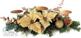 WeRChristmas díszített asztaldísz 3 oszlopú gyertyatartóval, 52 cm - krém és arany